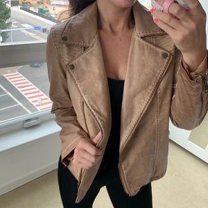 Vintage genuine leather tan zip up moto jacket